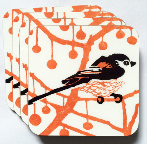 Orange & Black Longtail Coasters - Pk of 4