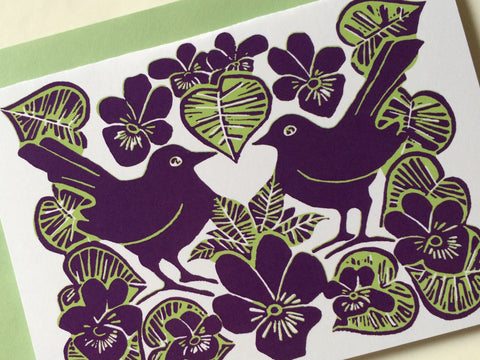 Purple & Green Lovebirds & Violets Card