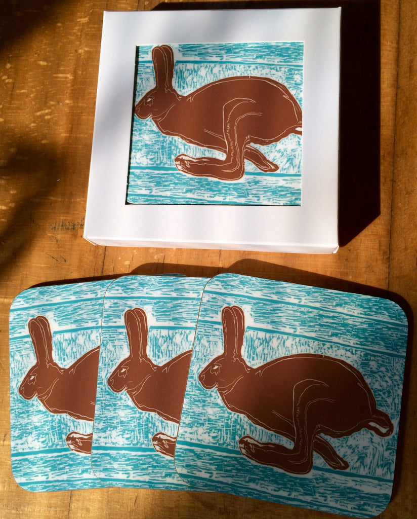 Brown hare coasters pack of 4