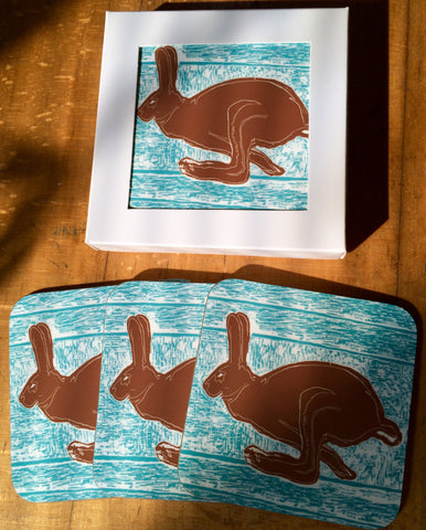 Brown Hare Coasters - Pk of 4
