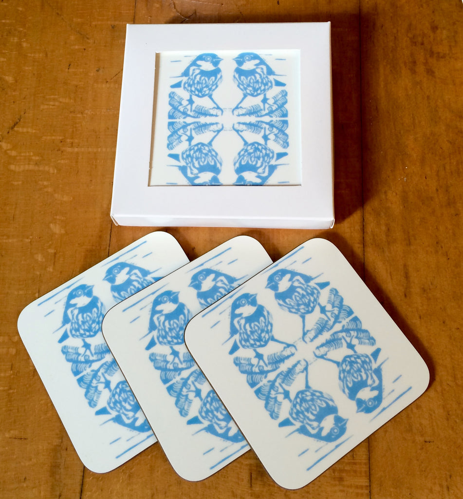 Blue Sparrow Coasters Gift Set Pk of 4