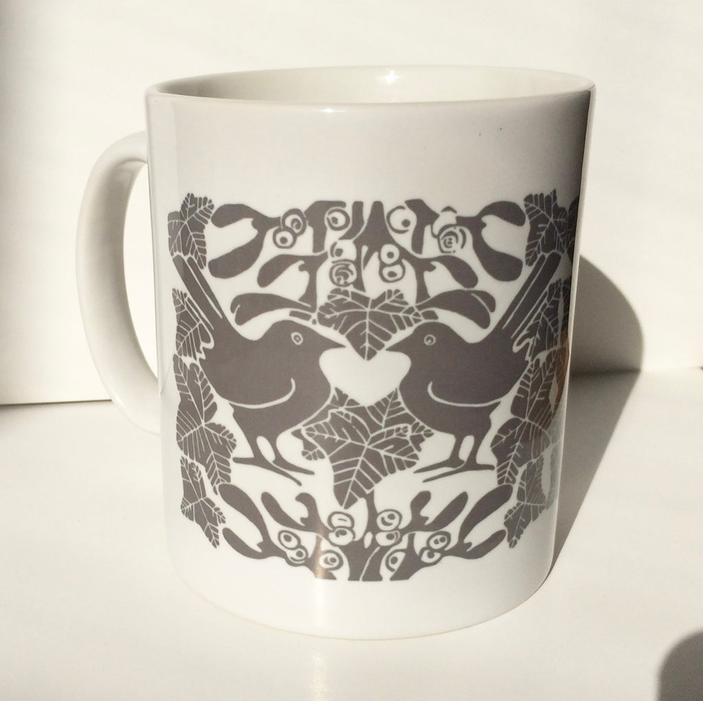 Grey Birds & Mistletoe Ceramic Mug