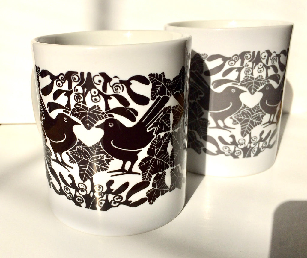 Blackbirds & Mistletoe Ceramic Mugs