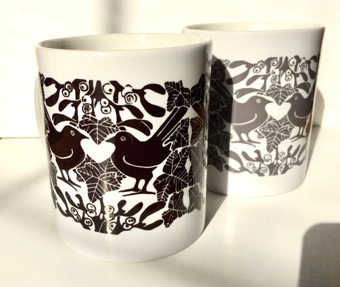 Blackbirds & Mistletoe Ceramic Mug - B & W