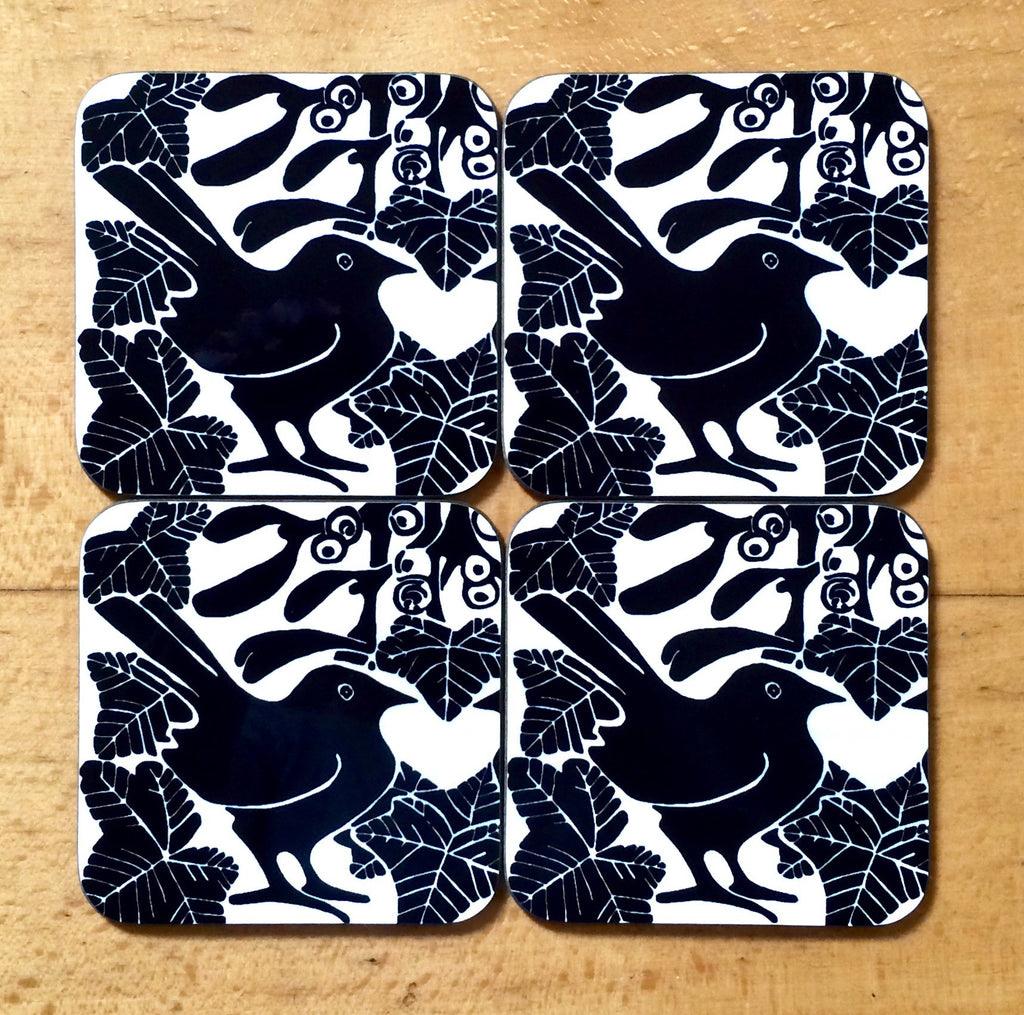 Black & white bird & mistletoe coasters