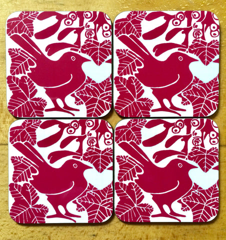 Red Bird & Mistletoe Coasters - Pk of 4