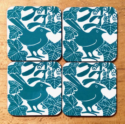 Green Bird & Mistletoe Coasters - Pk of 4