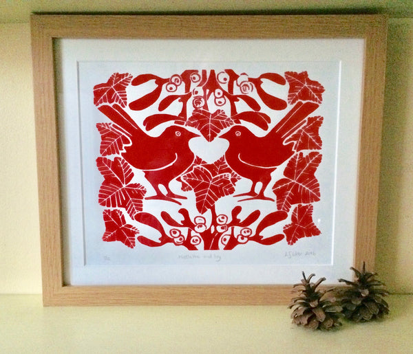 Red Mistletoe lino print by Louise Slater