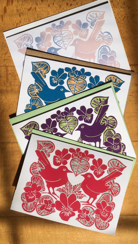 New! Lovebirds & Violets Cards - Pk of 4