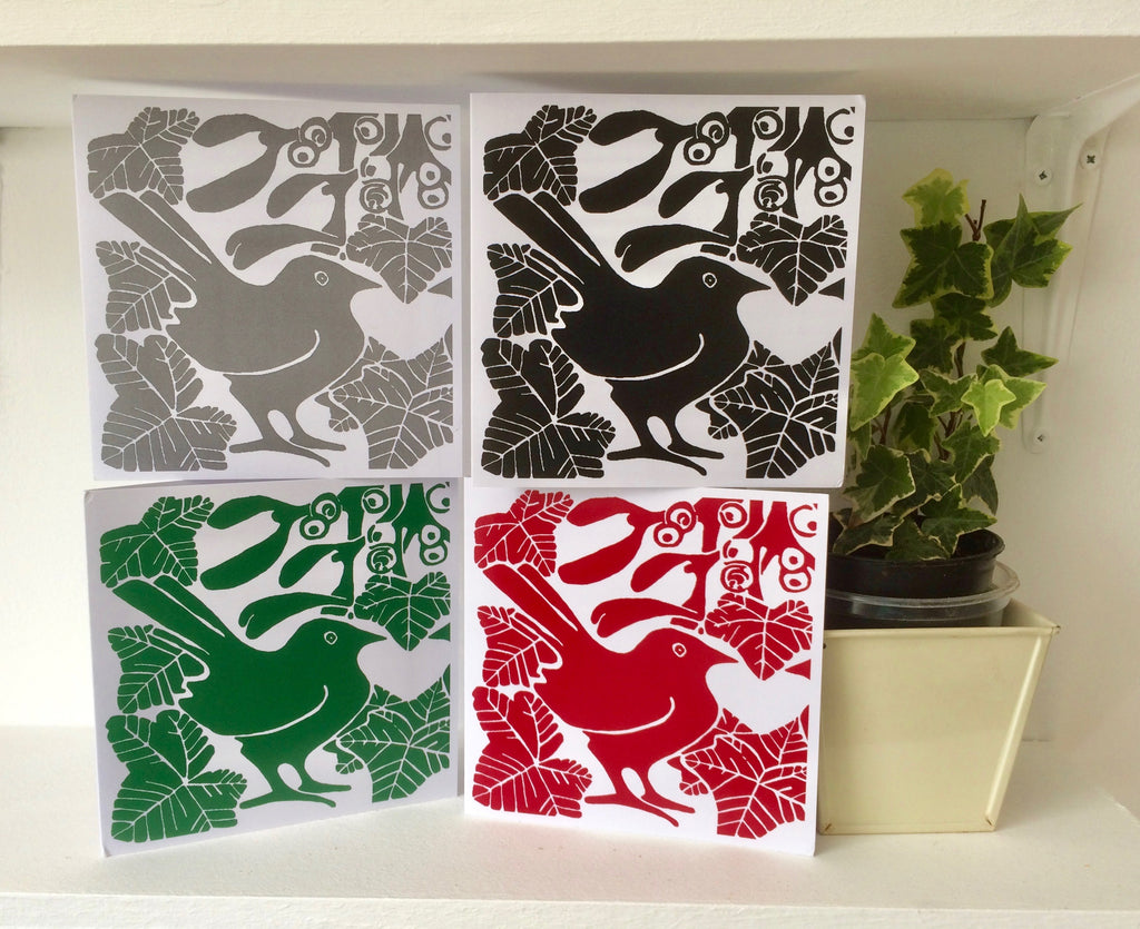 Sq Mistletoe Cards Mixed Pk of 4