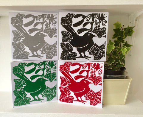 Bird & Mistletoe Linocut cards by Louise Slater