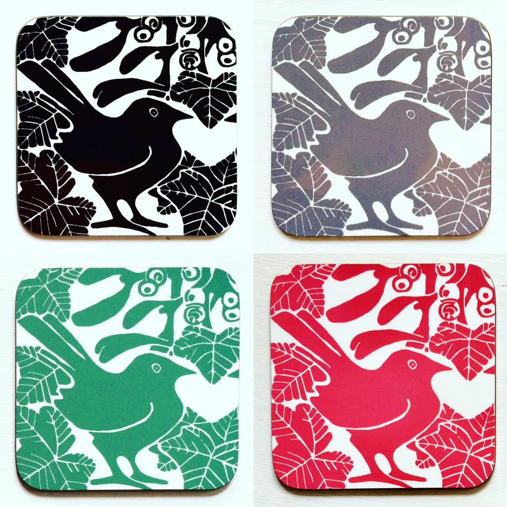 Bird & Mistletoe Coasters by Louise Slater