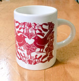 New! Red Birds & Mistletoe Espresso Mugs Pk 4