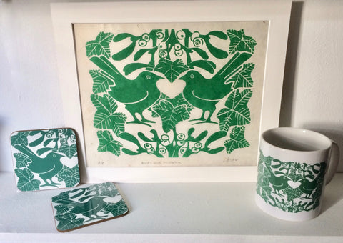 Green Birds & Mistletoe Linocut Print