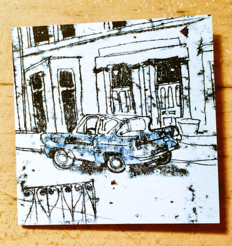 Blue Ford Anglia Card