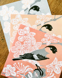 Selection of bullfinch cards from a linocut design