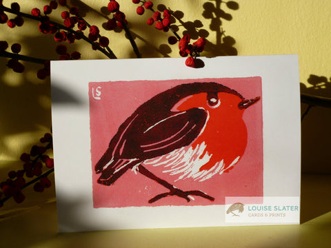 Pink Robin - Pack of 5 Christmas cards