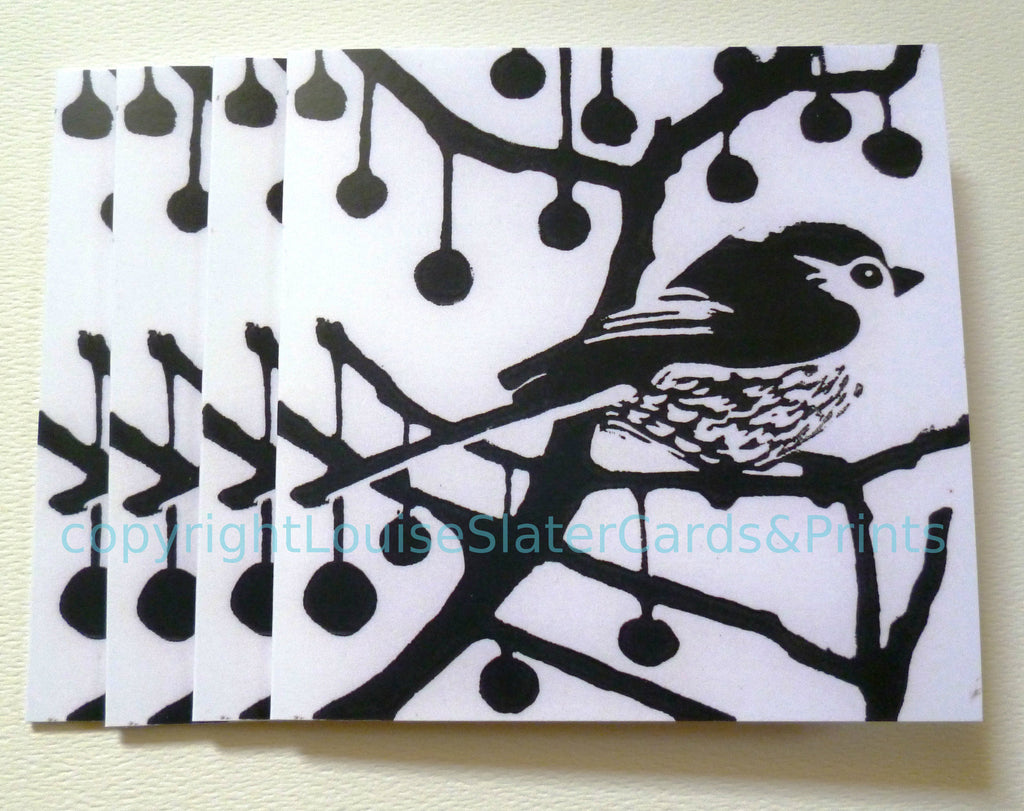 Black and white square greeting card longtail bird