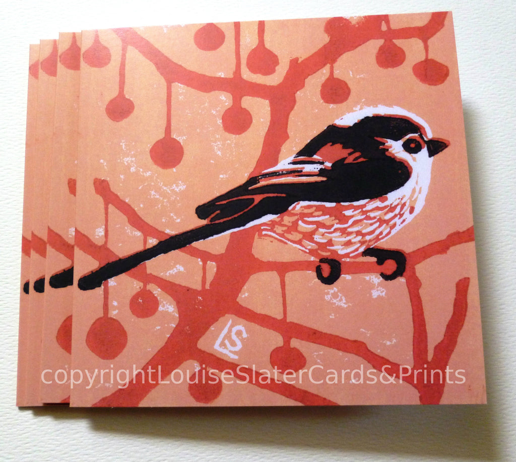 Pink long tail bird square greeting card