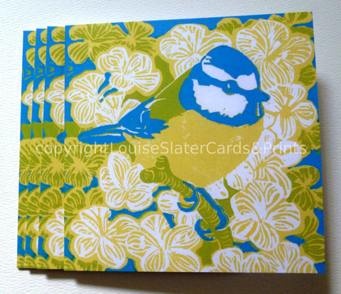 Blue tit card -yellow belly