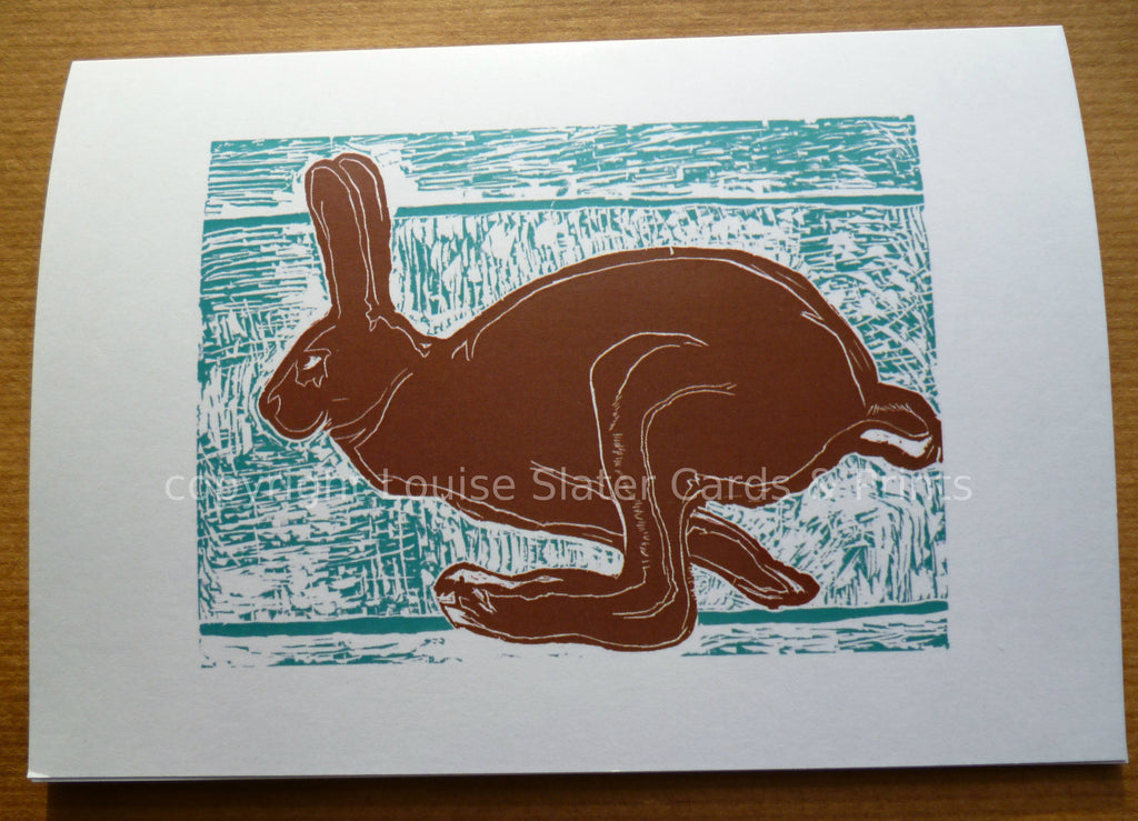 Brown running hare greeting card