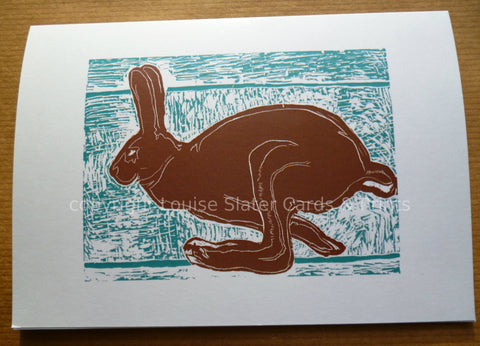 Blue & Brown Running Hare Card