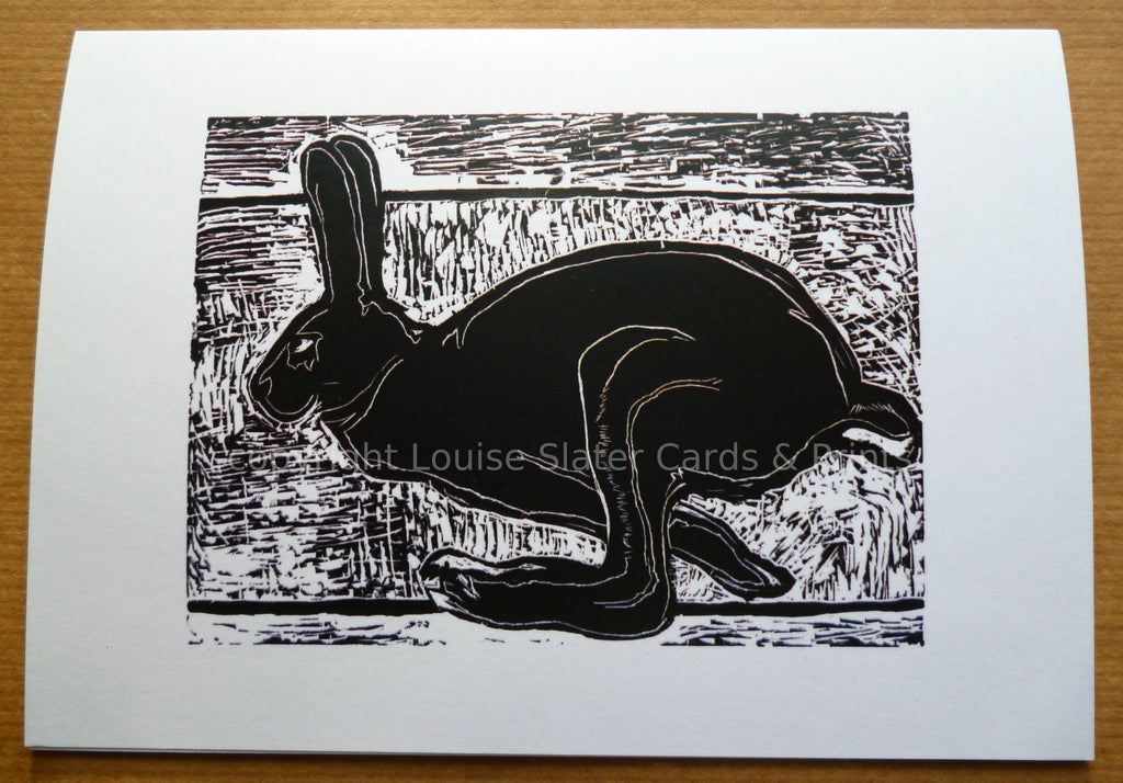 Black and white running hare greeting card