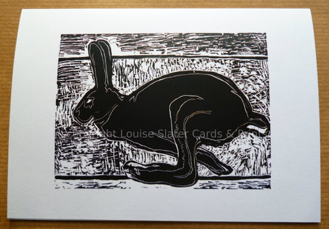 Black & White Running Hare Card