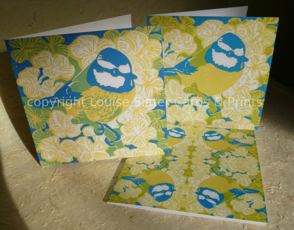 Pack of 3 blue tit greeting cards