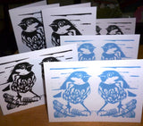 PK of 6 Sparrow greeting cards by Louise Slater
