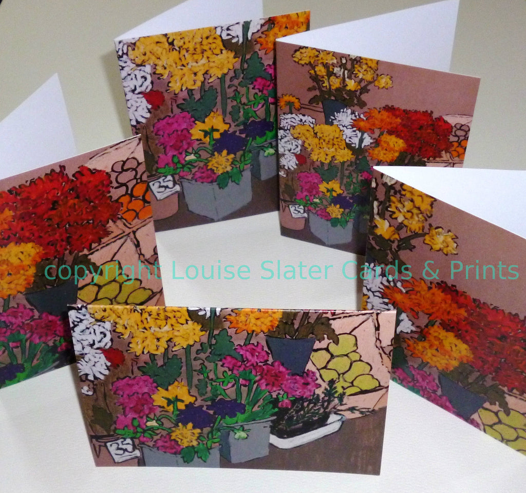Pack of 5 designs greeting cards flower market stall