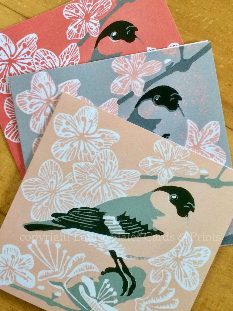 Pk of 3 Bullfinch cards by Louise Slater