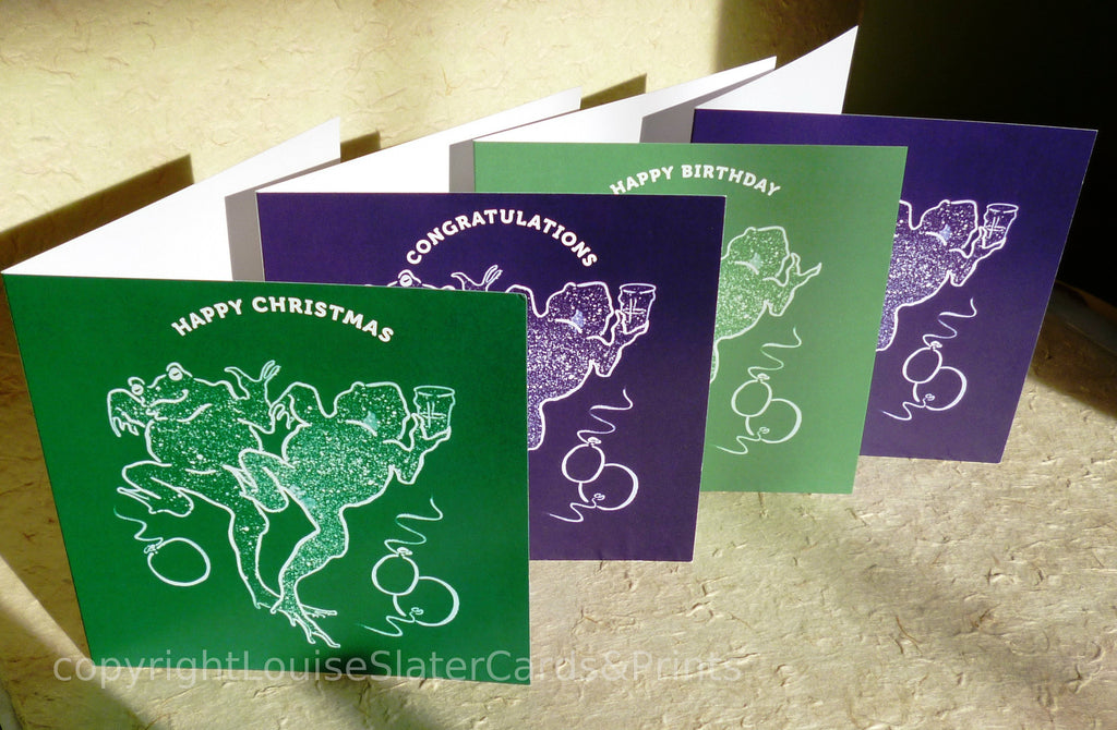 Dancing Frogs square cards pack of 4, 2 green, 2 purple