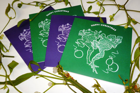 Christmas Purple & Green Frog Cards Pack of 4