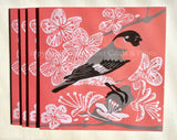 Bullfinch & Blossom Card by Louise Slater