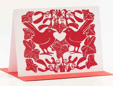 Red Mistletoe Christmas Cards - Pk of 5
