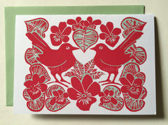 Lovebirds and violets valentines card