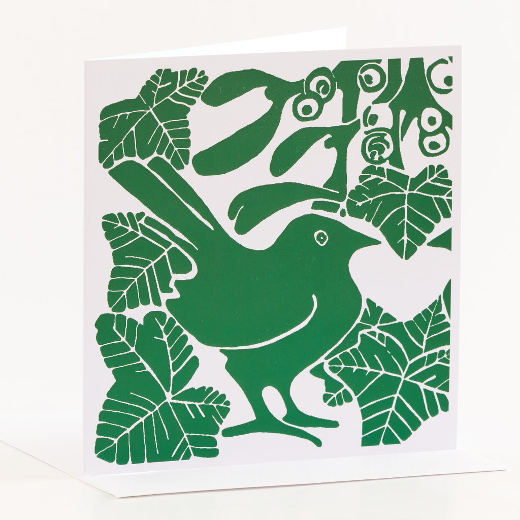 Square green bird Christmas card by Louise Slater