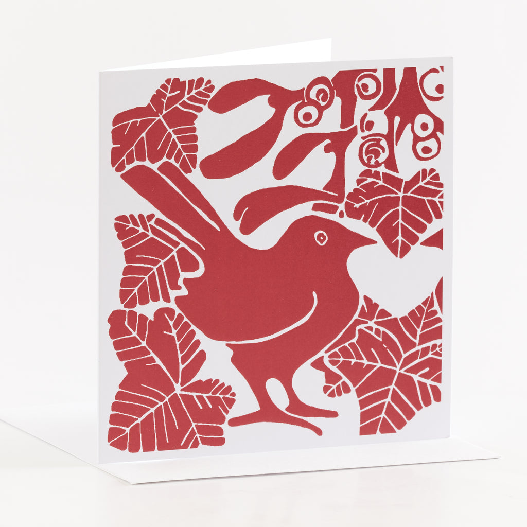Square red bird Christmas card by Louise Slater