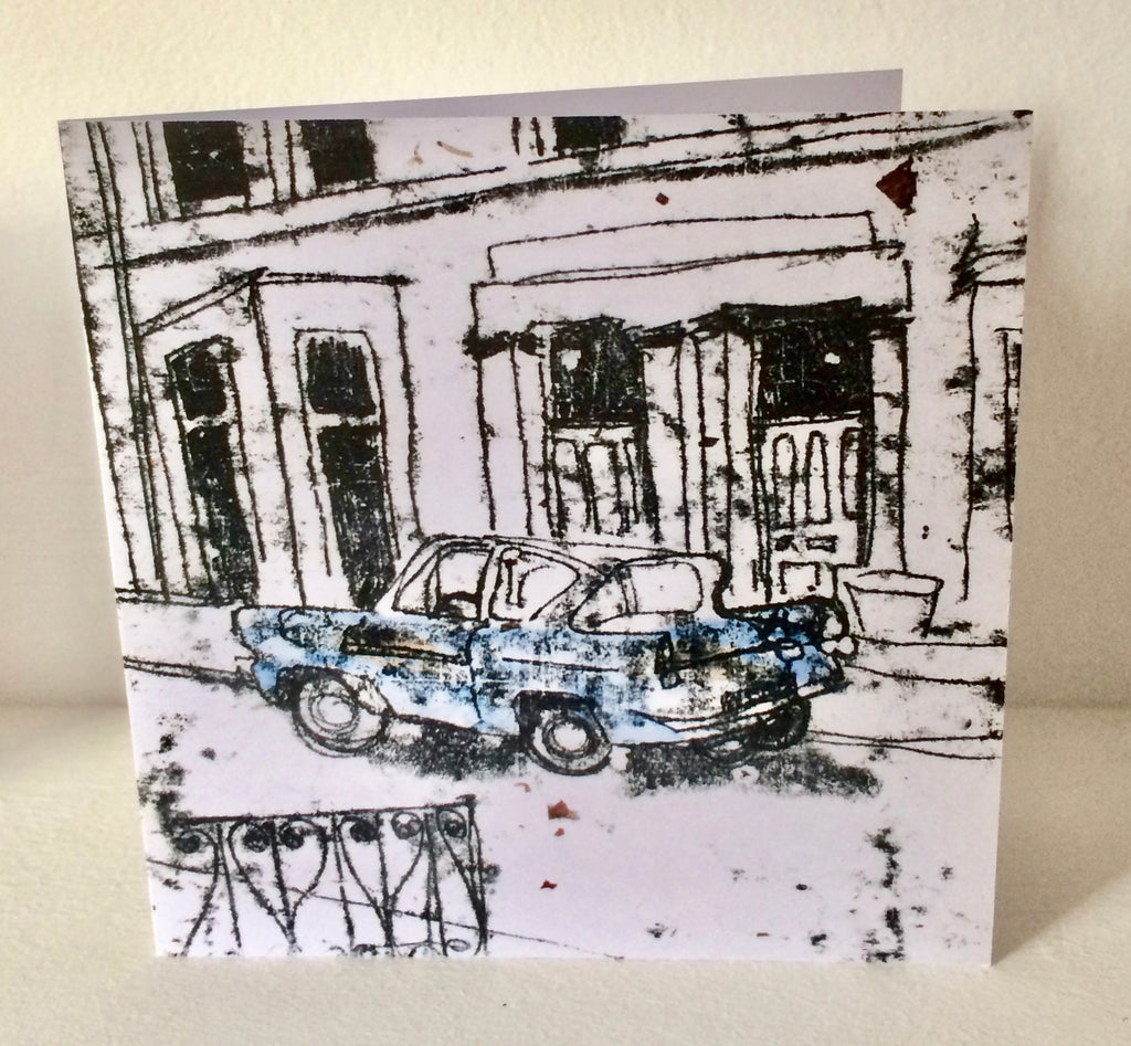 Blue Ford Anglia Card by Louise Slater