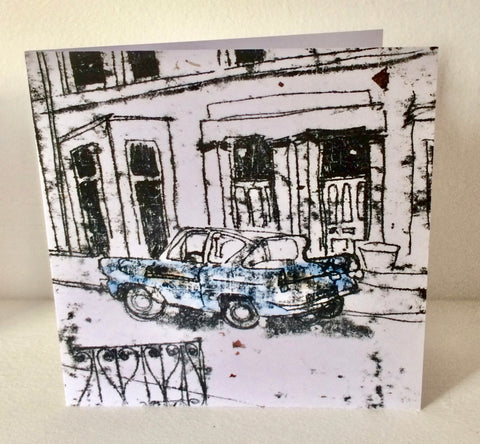 New! Blue Ford Anglia Card