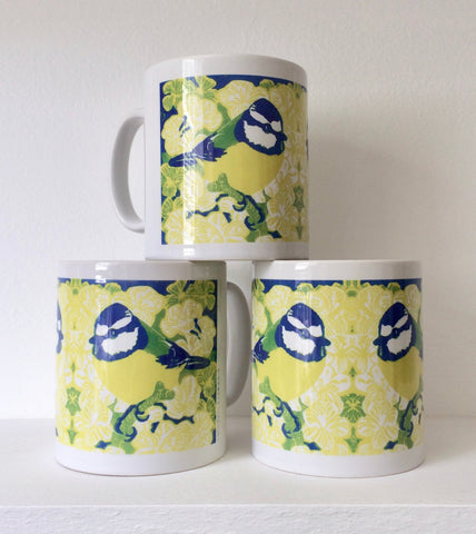Blue tit ceramic mugs