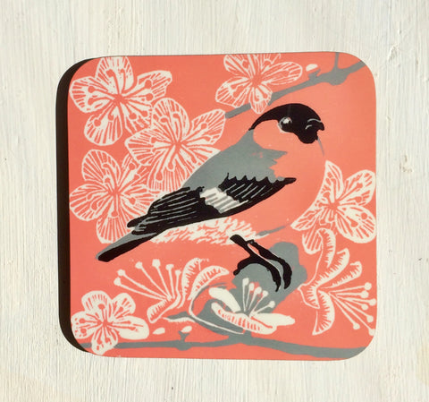 Bullfinch & Blossom Coasters - Pk of 4