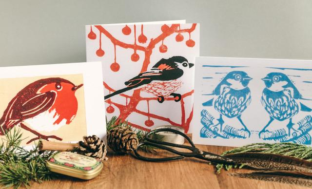 Birds & Mistletoe Christmas Cards by Louise Slater