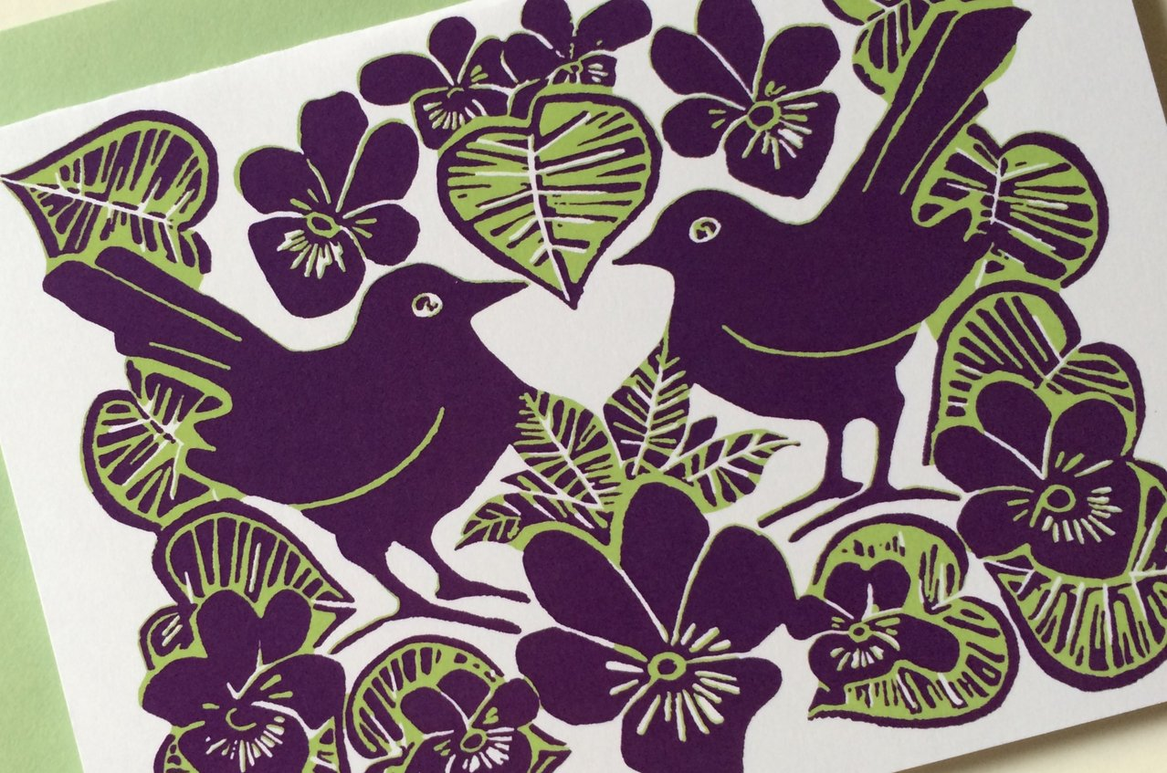 Blackbirds and Mistletoe Lino print