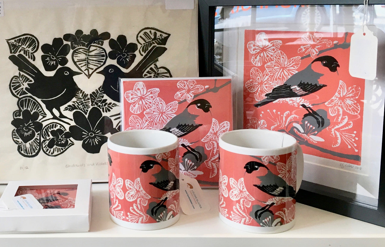 B & W linocut prints & cards by Louise Slater