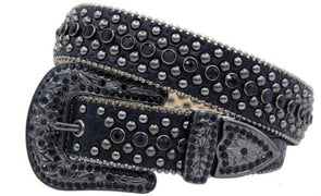Black Leather Stoned Karma Belt- 1014