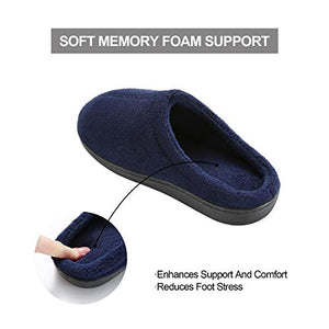 Comfort Memory Foam Slippers - Women's & Men's Plush Fleece Lined House Shoes Indoor, Outdoor Anti-Skid Rubber Sole