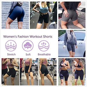 "FIRM ABS Women's 4""/8"" High Waist Workout Yoga Shorts Half Tights Tummy Control"