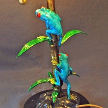 Load image into Gallery viewer, Bronze Frog Lamp Figurine Statue Sculpture Amphibian Art / Limited Edition Signed & Numbered - sculptin.com
